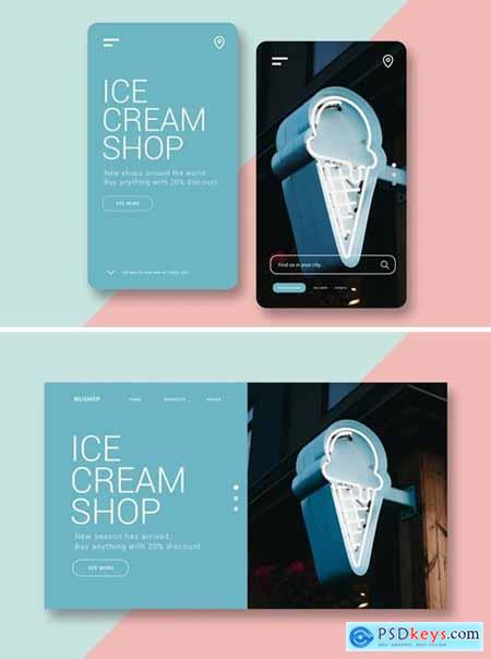 Ice Cream Shop - Mobile UI Kit and Landing Page
