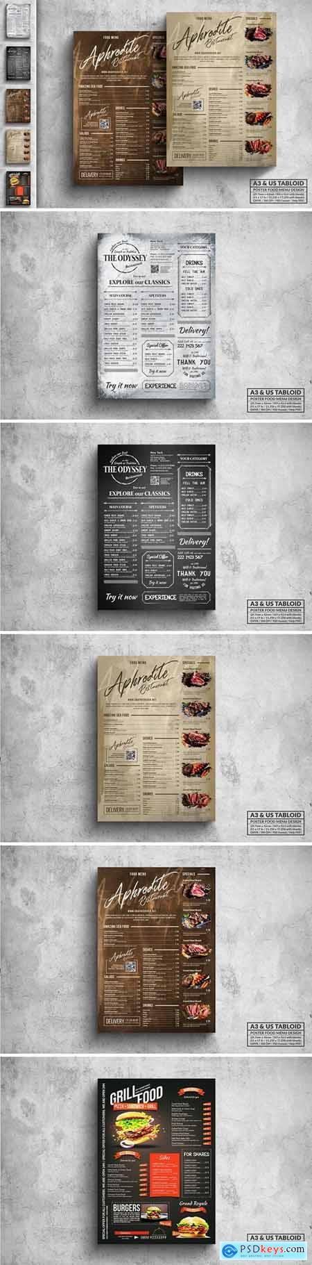 Vintage Food Menu Poster Design Bundle