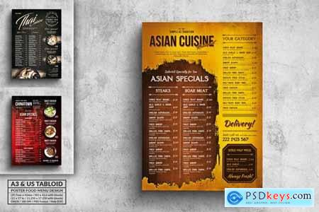Various Asian Food Menu Poster Design Bundle