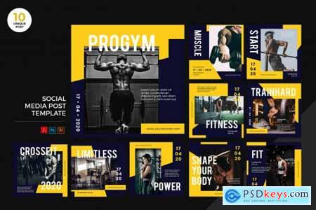 Gym Healthy Lifestyle Social Media Kit PSD & AI
