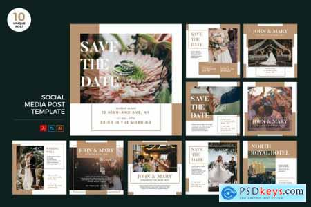 Wedding Invitation Social Media Kit PSD & AI