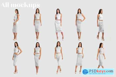 Woman Elegant Skirt Suit Mockup Set 4296581