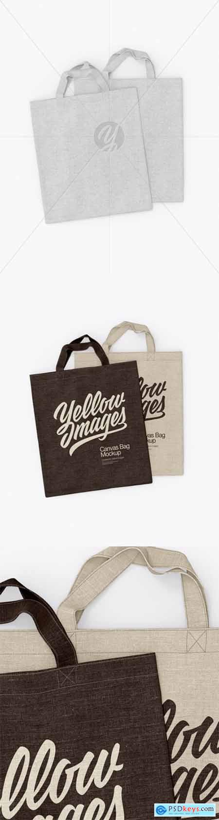 Two Canvas Bags Mockup - Top View 24888