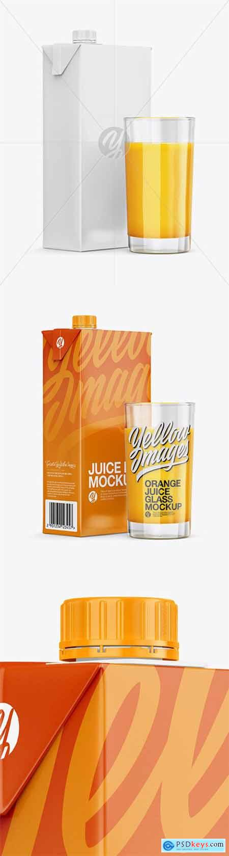 1L Carton Pack With Orange Juice Glass Mockup - Halfside View 24755
