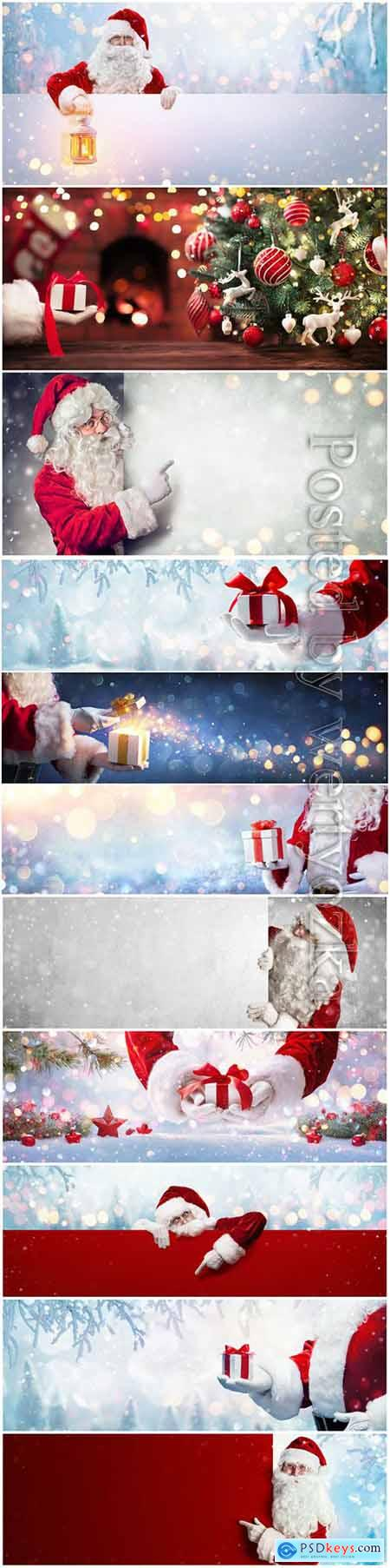Santa Claus gift, Christmas holiday background
