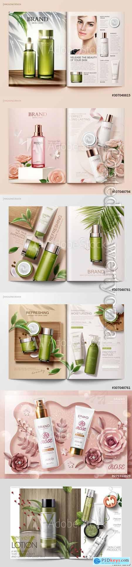 Skincare magazine vector template