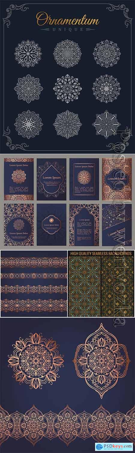 Ornaments and backgrounds with patterns in vector