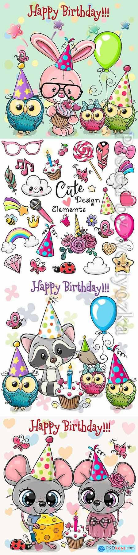 Happy birthday vector, funny animals