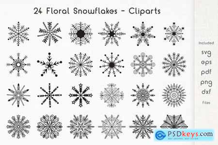24 Floral Snowflakes - Cliparts