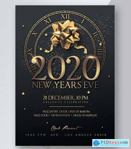 New years eve invitation flyer 2020