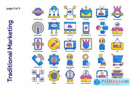 Traditional marketing Icon Set