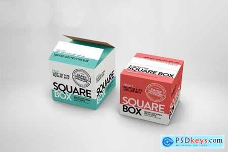 Square Slotted-Type Paper Box Packaging Mockup