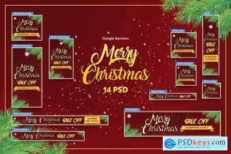 Merry Christmas Banners Ad PSD Template