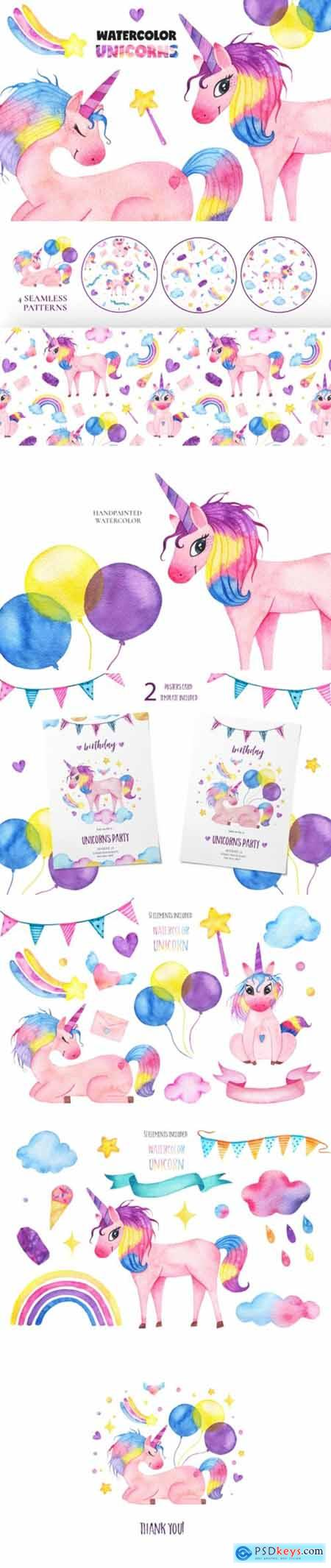 Cute Watercolor Unicorns Collection 2194062