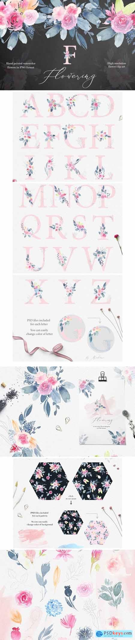 Flowering Watercolor Graphic Set 2194165
