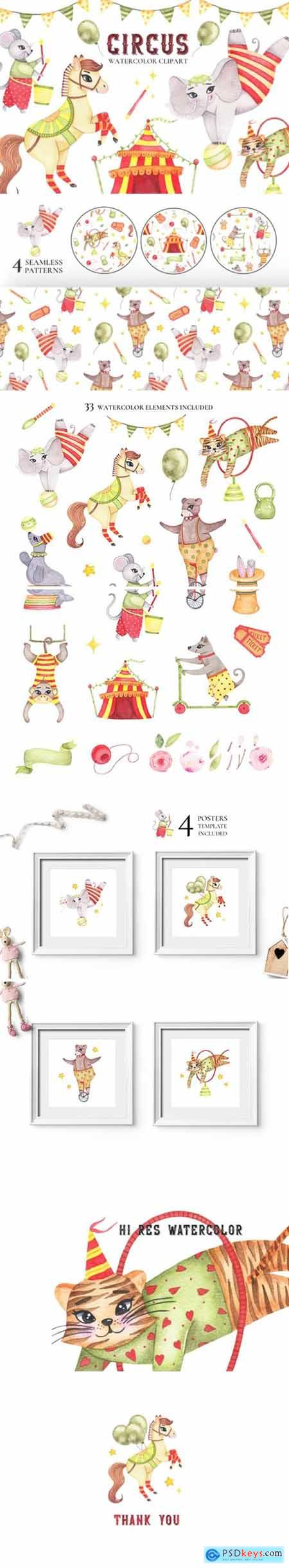 Circus Animals Watercolor Clipart 2194050