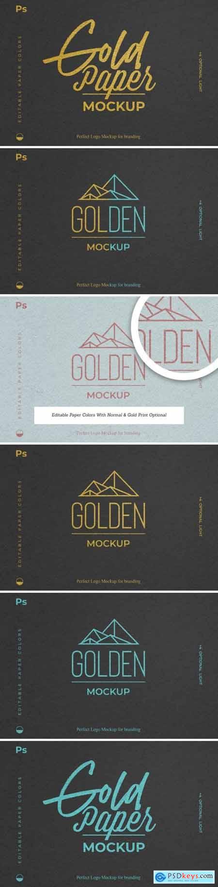 Gold Foil Paper Logo Mockup 2200904