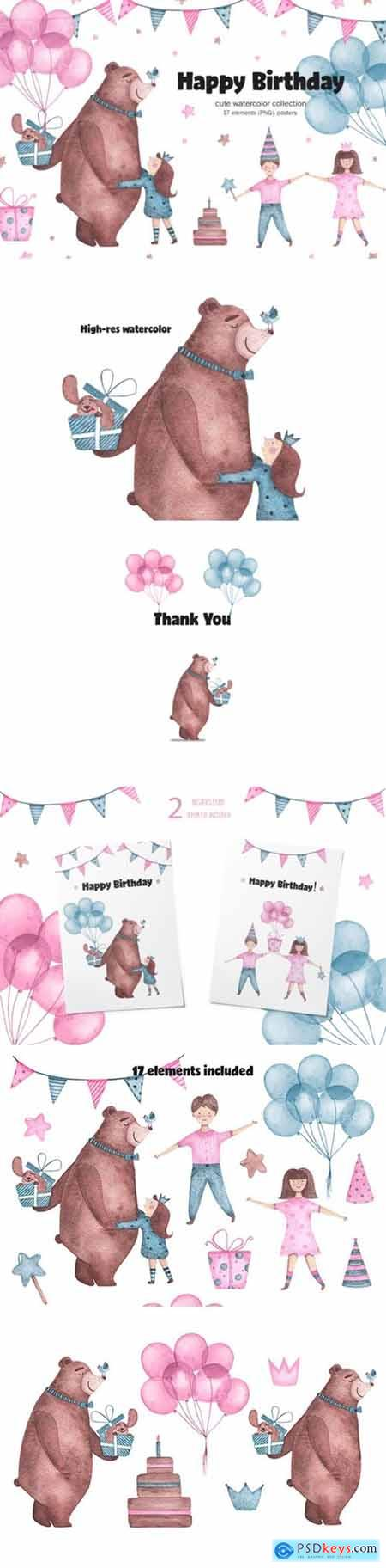 Happy Birthday - Watercolor Clipart 2194090