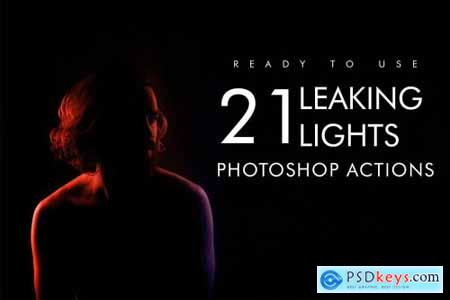 21 Leaking Lights Photoshop Action 4047406