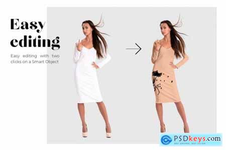 Female Basic Dress Mockup Set 4347345