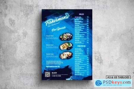 Fisherman Poster Food Menu - A3 & US Tabloid