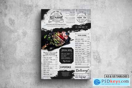 Vintage Poster Food Menu - A3 & US Tabloid