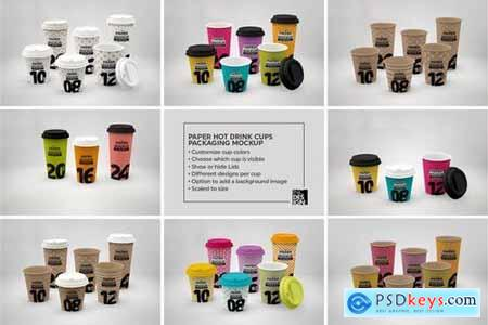 Paper Hot Drink Cups Packaging Mockup