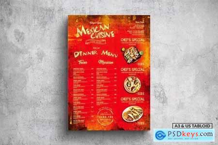 Mexican Poster Food Menu - A3 & US Tabloid