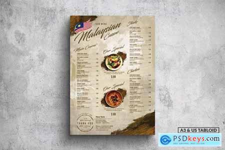 Malaysian Poster Food Menu - A3 & US Tabloid