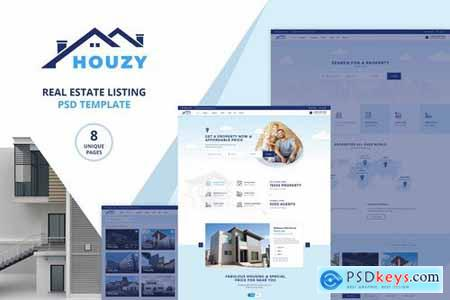 Houzy Real Estate Listing PSD Template