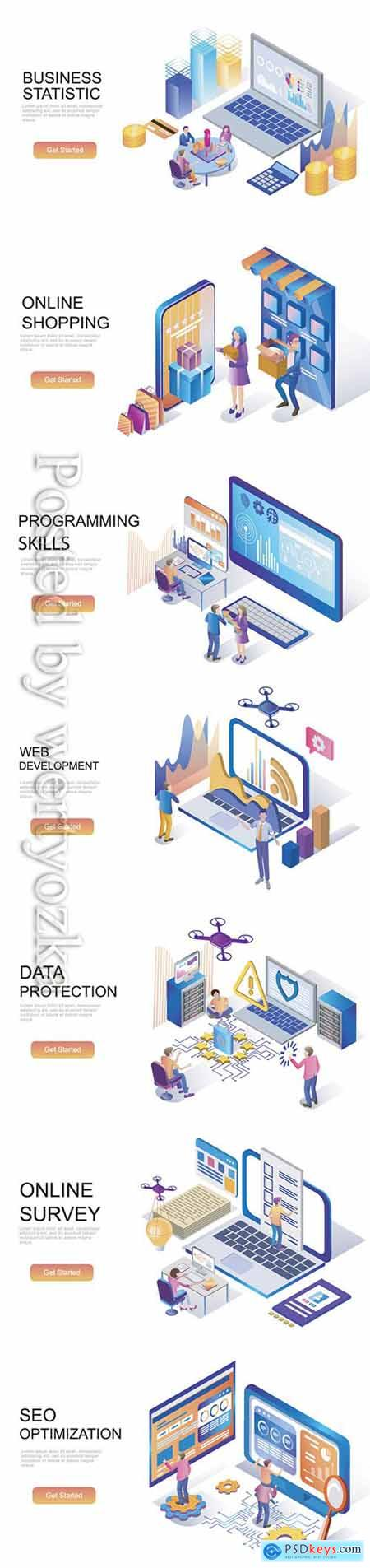 Flat isometric vector 3D concept illustration # 97