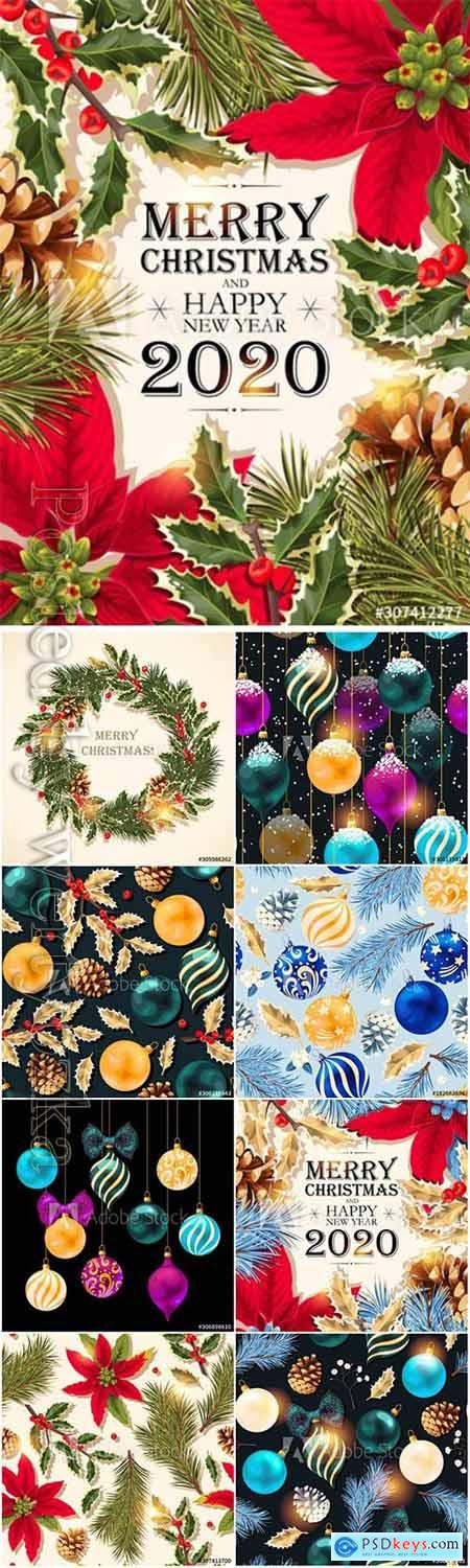 Christmas and New Year vector backgrounds with decorations
