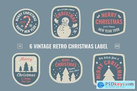 Christmas Retro Label - Badges