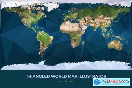 Triangled World Map Illustrator