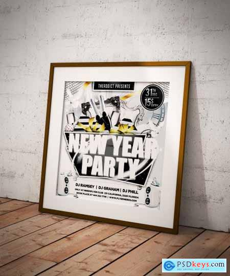 White New Year Party Flyer 4366025