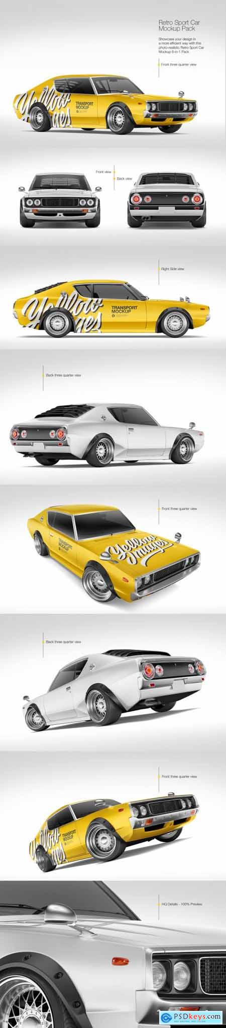 Retro Sport Car Mockup Pack