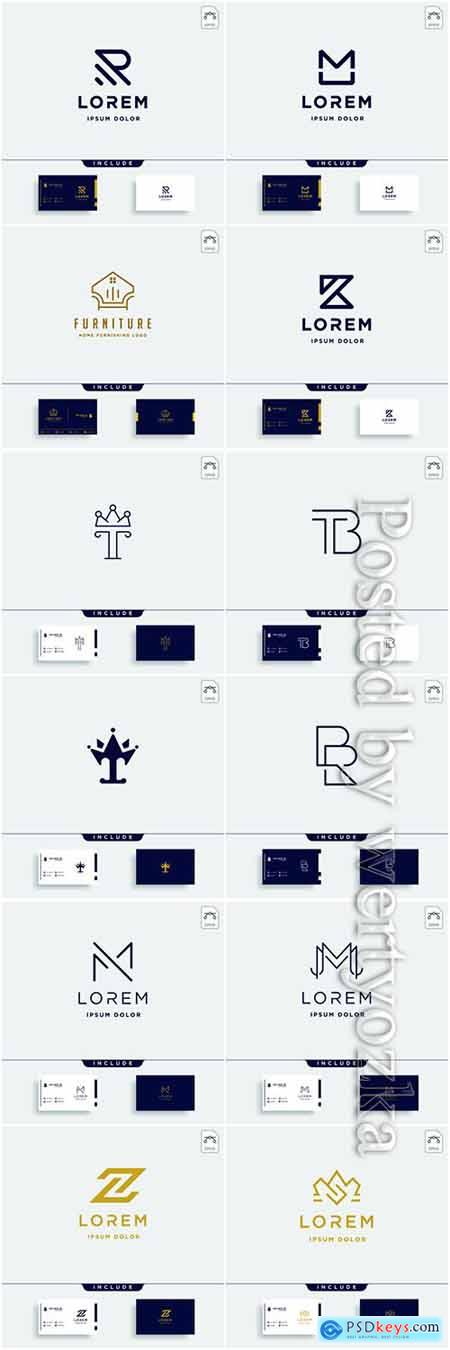 Company business logo and business card in vector