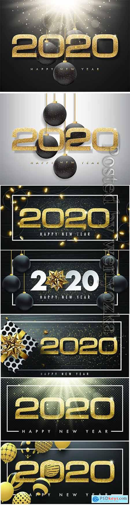 2020 festive golden decor in vector