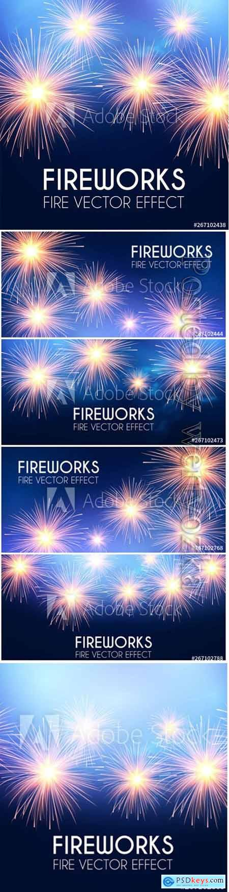Sparkling fireworks on a blue vector background