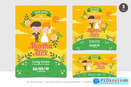 Cute Couple Wedding Invitation Set Template