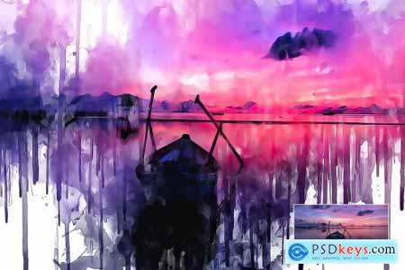 Watercolor Ink Painting PS Action 4306303