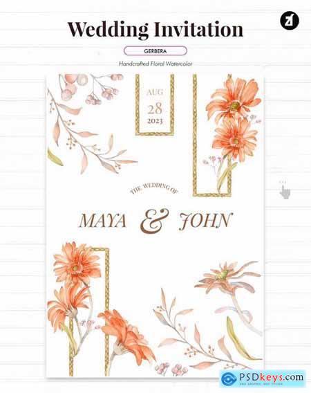 Floral Hand-drawn Watercolor Wedding Invitation 2