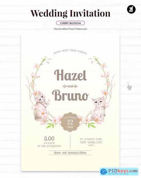 Floral Hand-drawn Watercolor Wedding Invitation