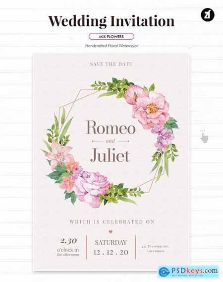 Floral Hand-drawn Watercolor Wedding Invitation 3
