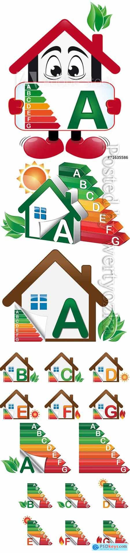 House energy classes vector set