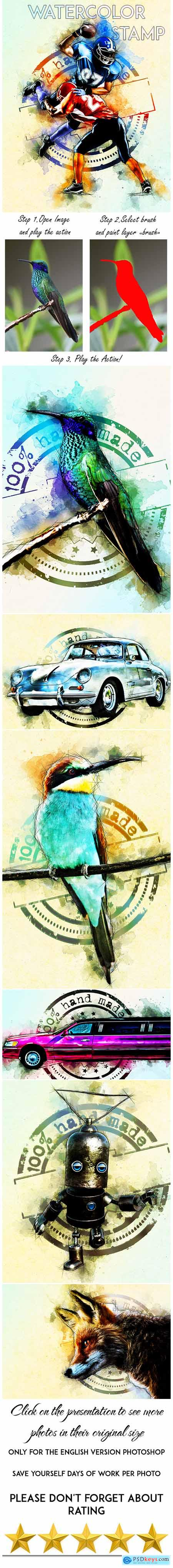 Watercolor Stamp Photoshop Action 25015853
