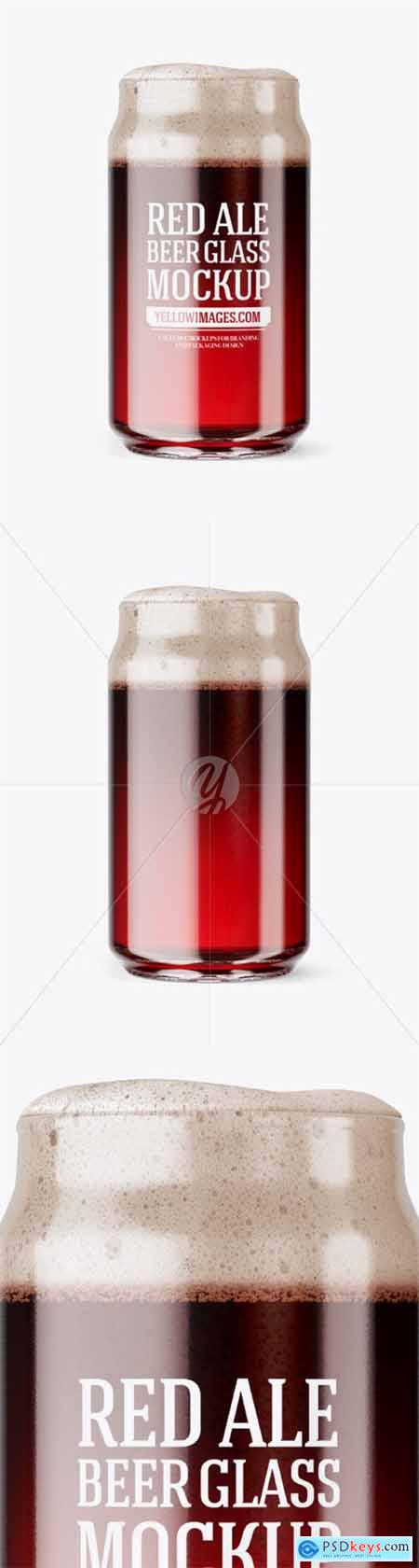 Can Shaped Glass Cup w- Red Ale Mockup 51133
