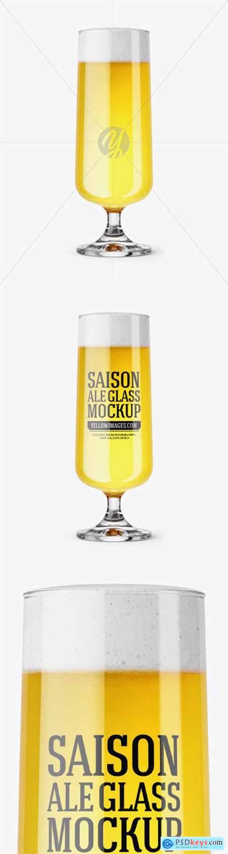 Goblet Glass with Saison Ale Mockup 51201