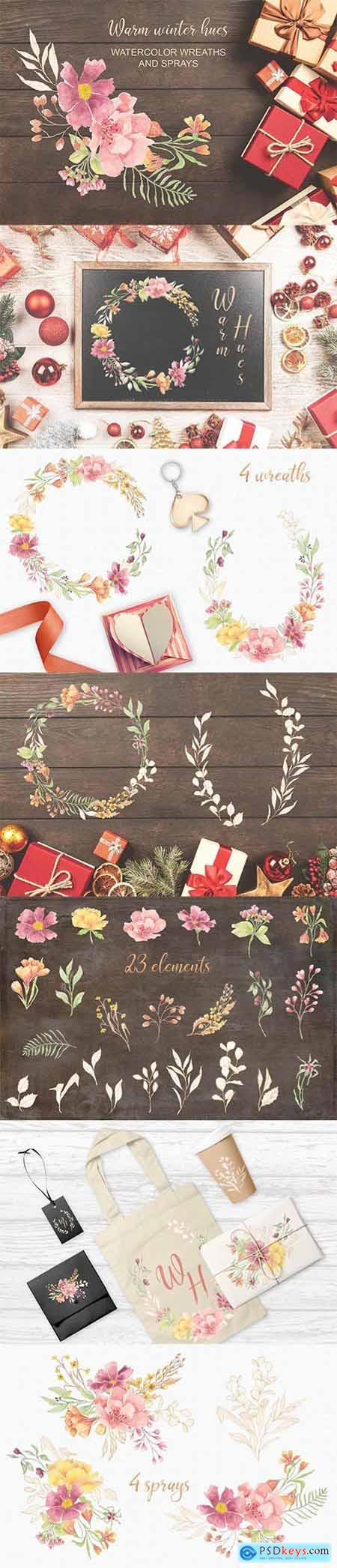 Warm Winter Hues- Watercolor Wreaths and Sprays