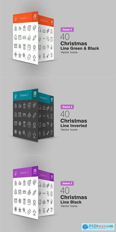 40 Christmas Line Icons